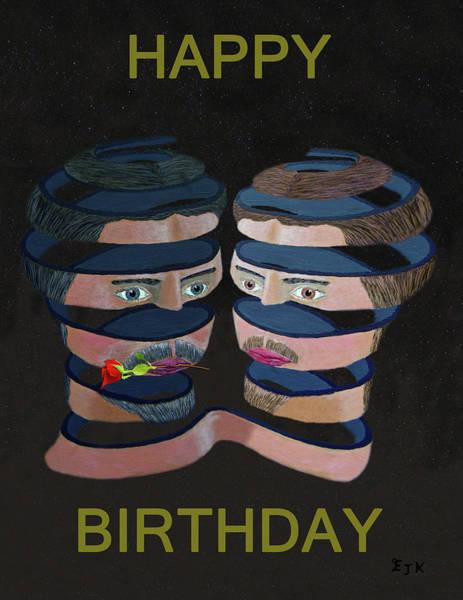 Mixed Media - Mykonos Rose Happy Birthday by Eric Kempson