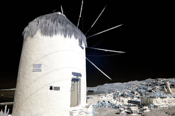 Photograph - Mykonos Town Windmill Shadows Infrared by John Rizzuto