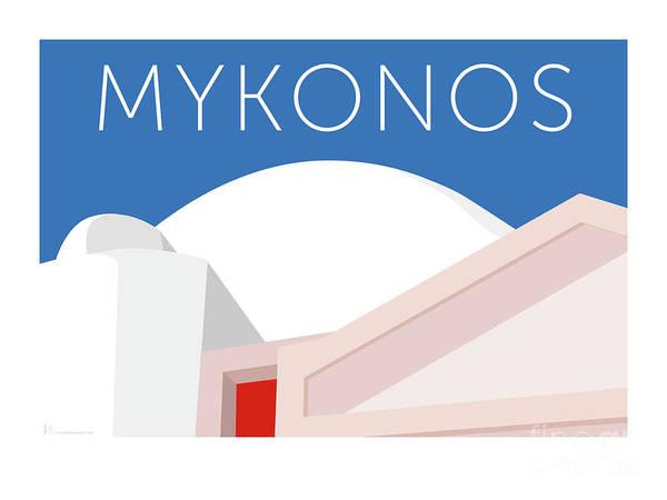 Digital Art - Mykonos Walls - Blue by Sam Brennan