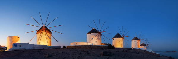 Photograph - Mykonos Windmill Night Panorama by Songquan Deng