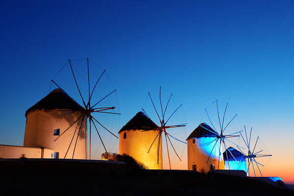 Photograph - Mykonos Windmill Night by Songquan Deng