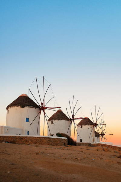 Photograph - Mykonos Windmill Sunset by Songquan Deng