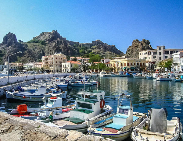 Photograph - Myrina Harbor And Castle Lemnos Greece by Gregory Daley  MPSA