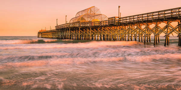 Photograph - Myrtle Beach Apache Pier At Sunset Panorama by Ranjay Mitra