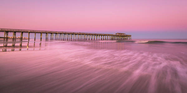 Art Print featuring the photograph Myrtle Beach Fishing Pier At Sunset Panorama by Ranjay Mitra