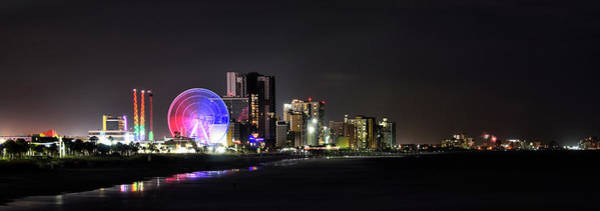 Wall Art - Photograph - Myrtle Beach Panorama At Night by Brendan Reals