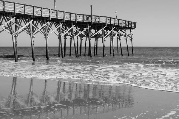Photograph - Myrtle Beach Pier In Black And White by MM Anderson