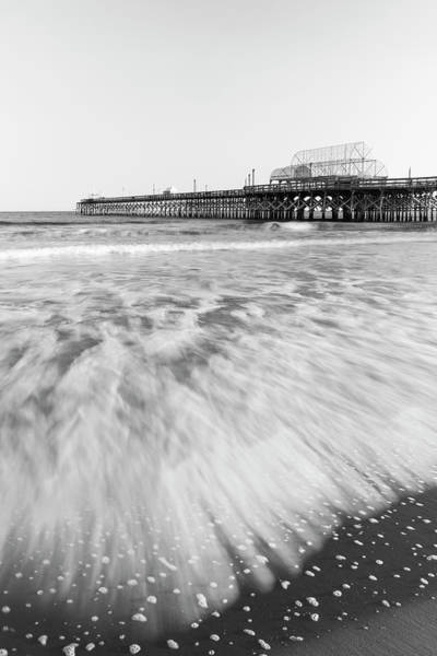 Photograph - Myrtle Beach Pier With Atlantic Surf In Black And White by Ranjay Mitra