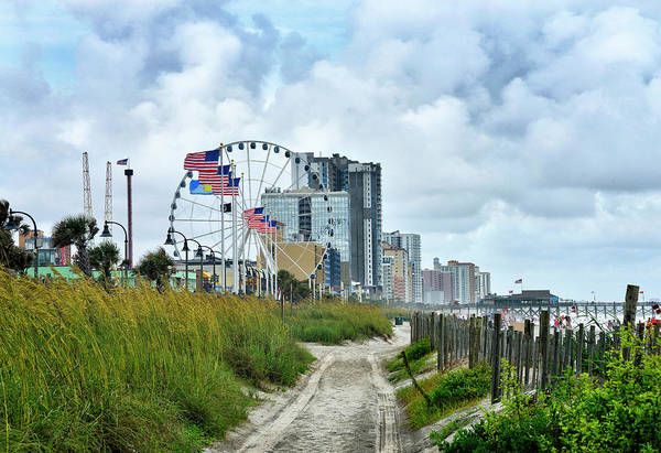 Wall Art - Photograph - Myrtle Beach Skywheel And Buildings by Brendan Reals