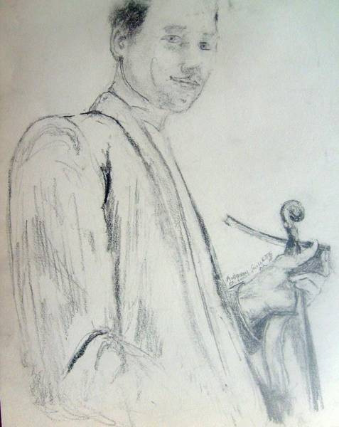 Drawing - Myself With A Violin by Andrew Gillette
