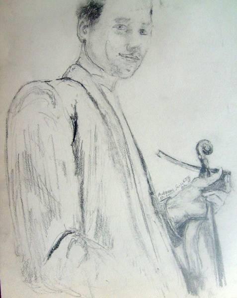 Myself With A Violin Art Print