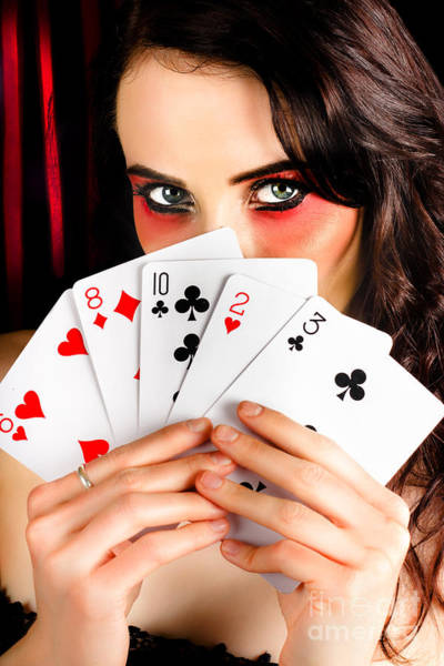 Wall Art - Photograph - Mysterious Female Holding Deck Of Playing Cards by Jorgo Photography - Wall Art Gallery