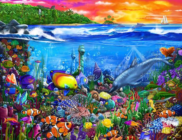 Wall Art - Digital Art - Mysterious Ocean City by MGL Meiklejohn Graphics Licensing
