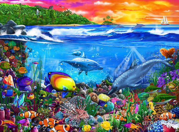Wall Art - Digital Art - Mysterious Ocean Realm by MGL Meiklejohn Graphics Licensing