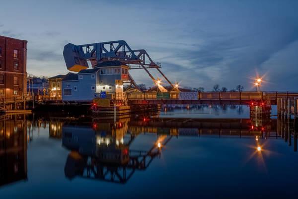 Photograph - Mystic Drawbridge At Twilight by Kirkodd Photography Of New England