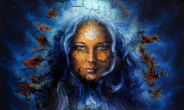 Emanate Painting - Mystic Face Women With Structure Crackle Background Effect With Star On Forehead Collage.eye Contact by Jozef Klopacka