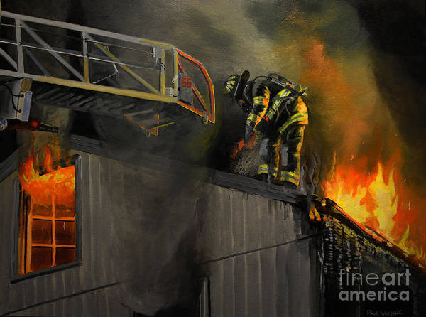 Fireman Wall Art - Painting - Mystic Fire by Paul Walsh