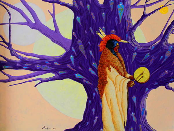 Summoning Painting - Mystic Powers Of The Medicine Man by Joe  Triano