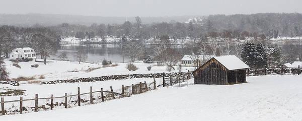 Mystic River Winter Landscape Art Print