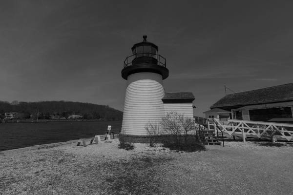 Photograph - Mystic Seaport Lighthouse Black And White by Brian MacLean