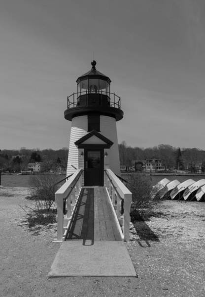 Photograph - Mystic Seaport Lighthouse Entry In Black And White by Brian MacLean