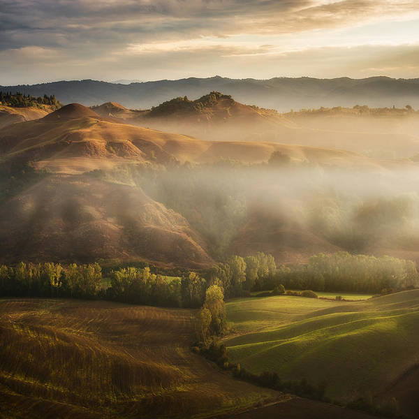 Fog Photograph - Mystical Waving Fields Tuscany by Jarek Pawlak