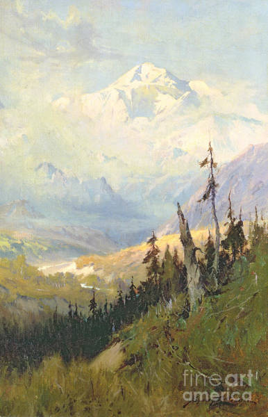 Stump Painting - An Autumn Day, Mt Mckinley  by Sidney Laurence