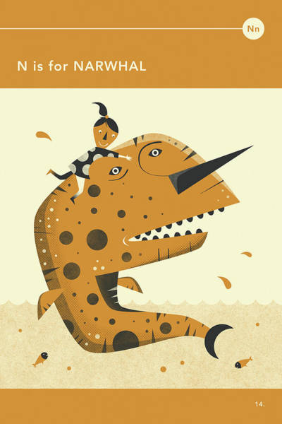 Illustrator Wall Art - Digital Art - N Is For Narwhal by Jazzberry Blue