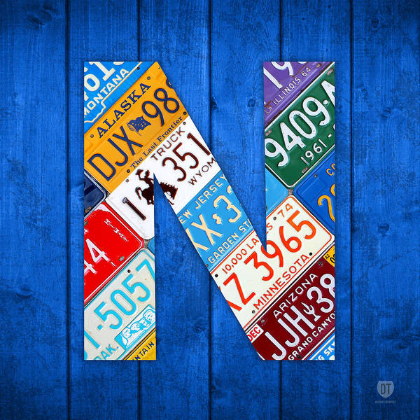 Background Mixed Media - N License Plate Letter Art Blue Background by Design Turnpike