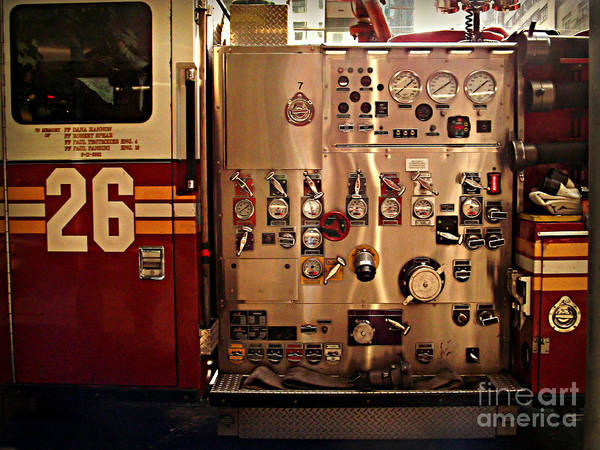 Wall Art - Photograph - N Y C Fire Engine Digits And Dials by Miriam Danar