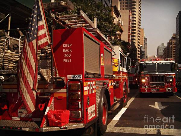 Wall Art - Photograph - N Y C Fire Trucks - On The Job by Miriam Danar