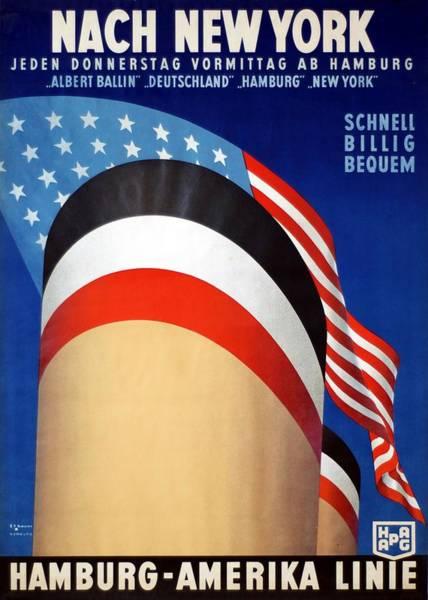 Wall Art - Mixed Media - Nach New York - Hamburg Amerika Linie - Retro Travel Poster - Vintage Poster by Studio Grafiikka
