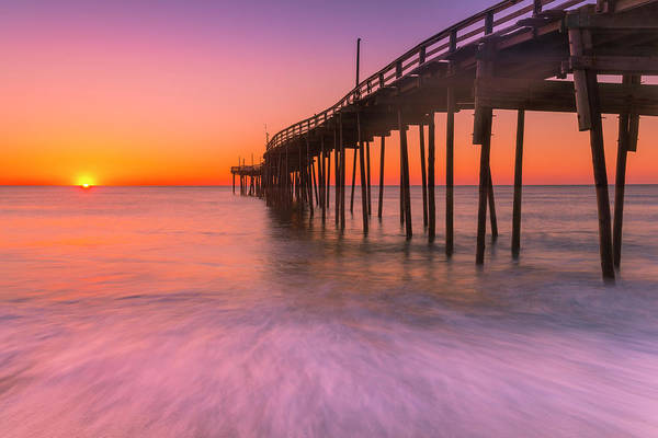 Art Print featuring the photograph Nags Head Avon Fishing Pier At Sunrise by Ranjay Mitra