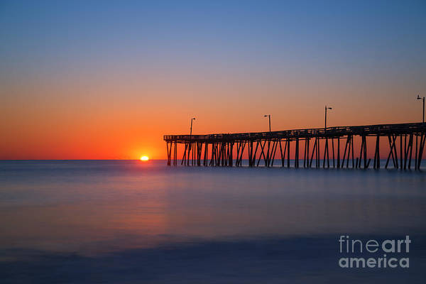 Piling Photograph - Nags Head Fishing Pier Sunrise by Michael Ver Sprill
