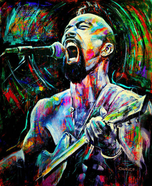 Abstract People Painting - Nahko by Robyn Chance