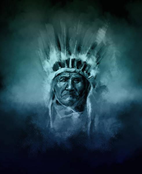 Native Headdress Painting - Naive American Chief-geronimo 2 by Bekim M