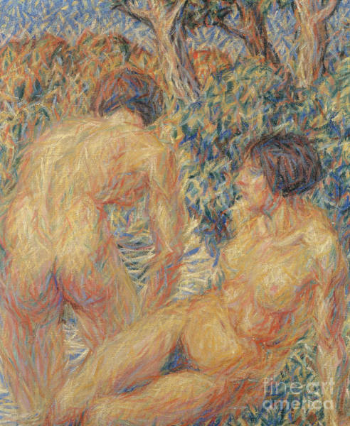 Bare Bottom Painting - Naked In Woods by Giuseppe Cominetti
