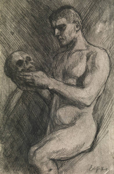 Relief - Naked Man And Skull by Albert Edelfelt
