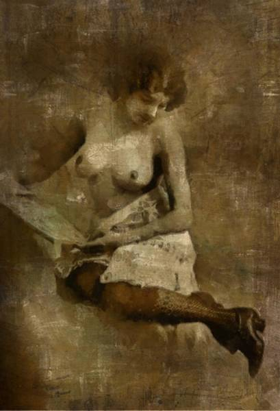 Tits Painting - Naked Reading by Mary Bassett