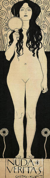 Wall Art - Drawing - Naked Truth by Gustav Klimt