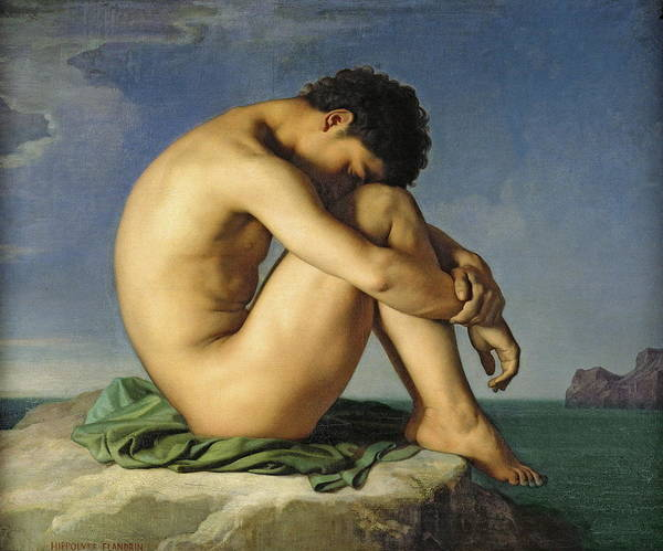 Bodybuilder Painting - Naked Young Man Sitting By The Sea by Jean Hippolyte Flandrin