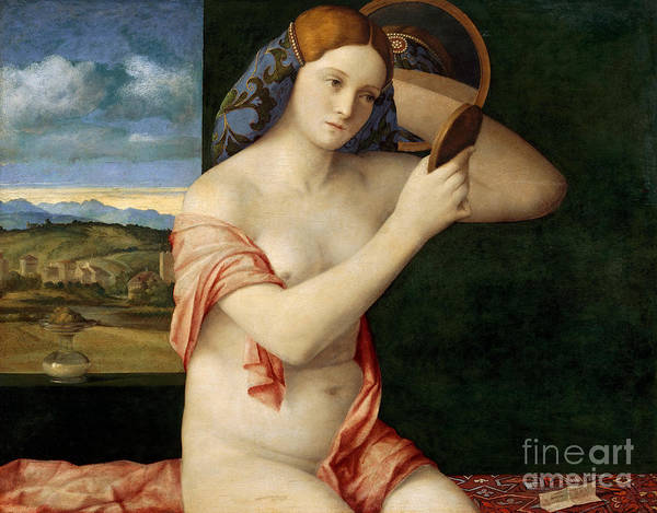 Wall Art - Painting - Naked Young Woman In Front Of A Mirror, 1515 by Giovanni Bellini