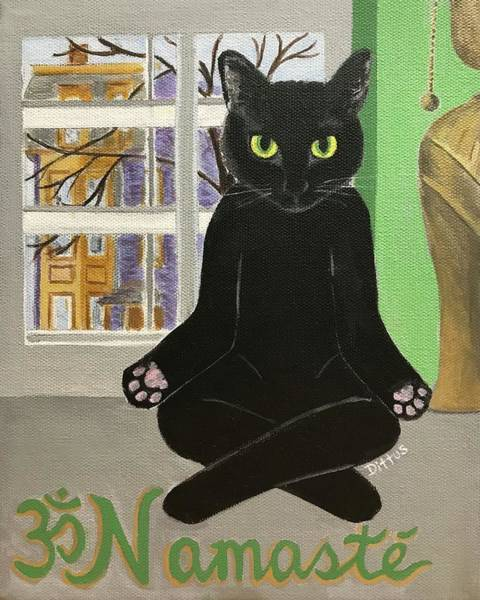 Wall Art - Painting - Namaste Cat by Chrissey Dittus