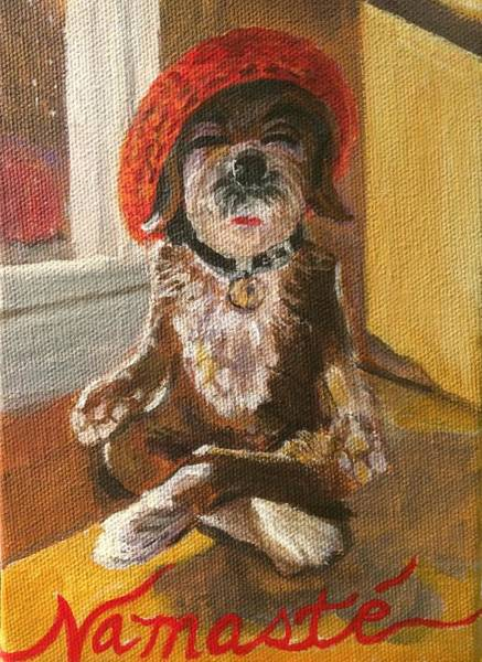 Wall Art - Painting - Namaste Dog by Chrissey Dittus