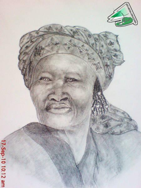 Singh Drawing - Namibian Queen by Jaiteg Singh