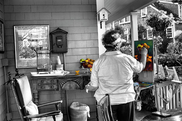 Photograph - Nantucket Artist In Bw Series 6801 by Carlos Diaz