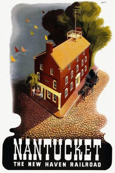 Sailboat Mixed Media - Nantucket, Massachusetts - The New Haven Railroad - Retro Travel Poster - Vintage Poster by Studio Grafiikka