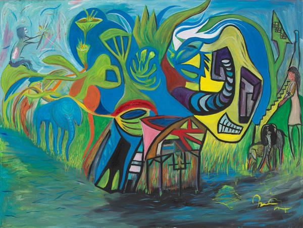 Dandilions Painting - Naomi's Playground by Marius Manea