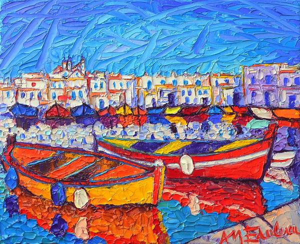 Painting - Naousa Harbor Greece Paros Island Modern Impressionist Palette Knife Oil Painting Ana Maria Edulescu by Ana Maria Edulescu