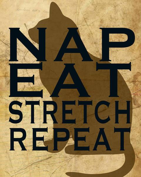 Nap Wall Art - Mixed Media - Nap Eat by Marilu Windvand